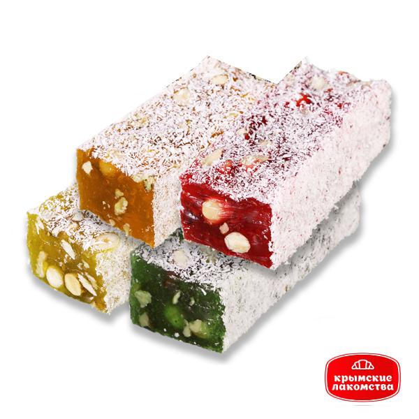 Рахат-лукум мини-бруски ассорти ореховые c фруктово-ягодными ароматами Айнур